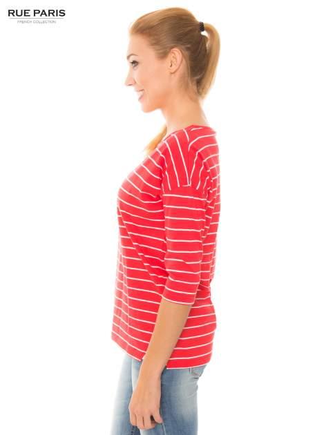 Bawełniana bluzka w koralowo-białe paski z rękawem 3/4                                  zdj.                                  2