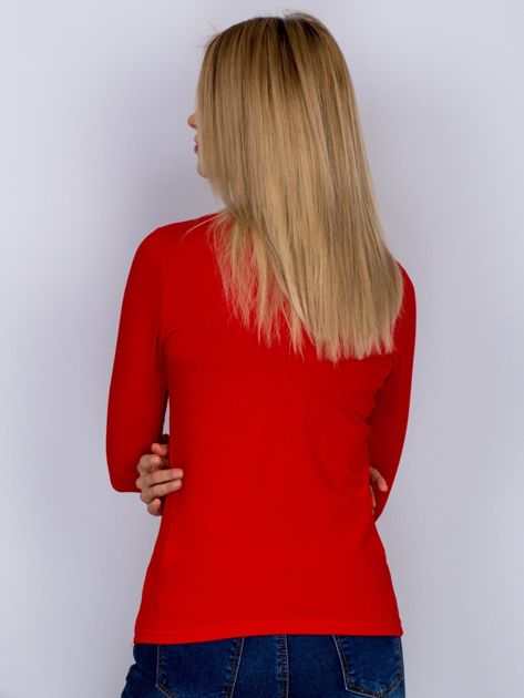 Bawełniana bluzka z guzikami czerwona                                  zdj.                                  2