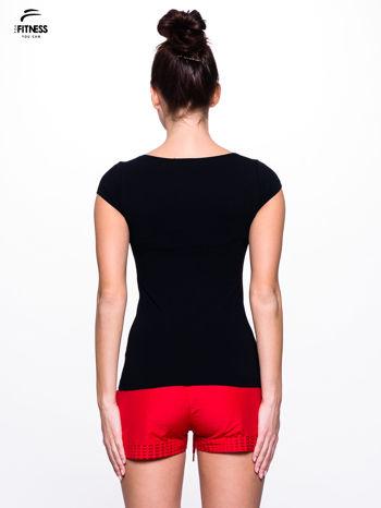 Bawełniana czarna bluzka na krótki rękaw FOR FITNESS                                  zdj.                                  3