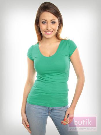 Bawełniana zielona bluzka na krótki rękaw FOR FITNESS                                  zdj.                                  3