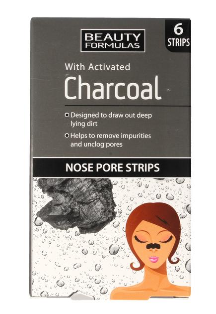 """Beauty Formulas Charcoal Płatki oczyszczające na nos z aktywnym węglem  1op.-6szt"""""""