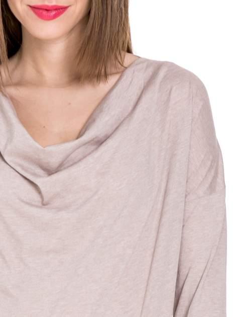 Beżowa bawełniana bluzka z dekoltem typu woda                                  zdj.                                  4