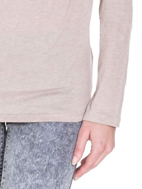 Beżowa bawełniana bluzka z dekoltem typu woda                                  zdj.                                  5
