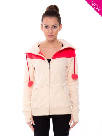 Beżowa bluza polarowa z kapturem z uszkami                                  zdj.                                  2