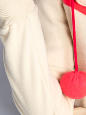 Beżowa bluza polarowa z kapturem z uszkami                                  zdj.                                  7