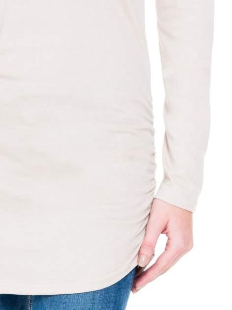 Beżowa bluzka tunika z marszczonym dołem                                  zdj.                                  6