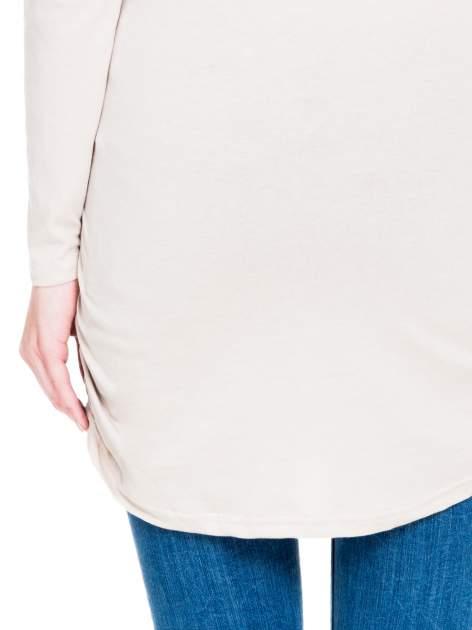 Beżowa bluzka tunika z marszczonym dołem                                  zdj.                                  9