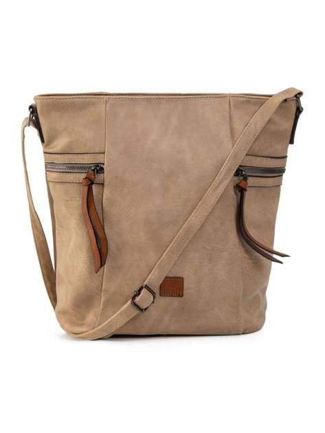 Beżowa duża torba ze skóry ekologicznej