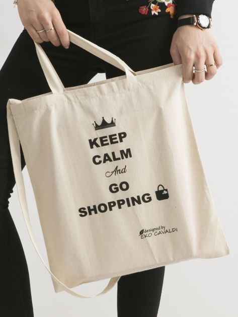 Beżowa eko torba z napisem KEEP CALM AND GO SHOPPING                              zdj.                              1