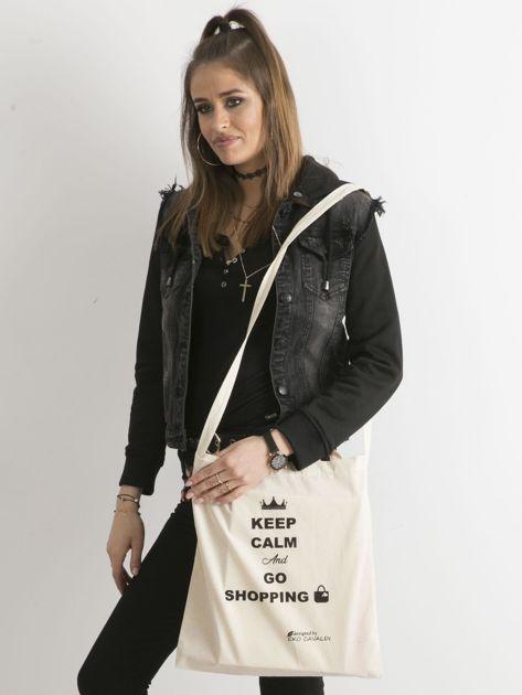 Beżowa eko torba z napisem KEEP CALM AND GO SHOPPING                              zdj.                              3