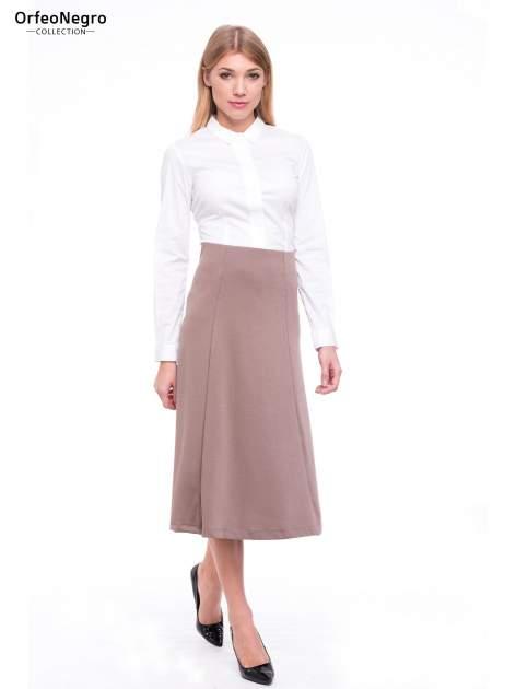Beżowa elegancka spódnica midi o rozkloszowanym kroju                              zdj.                              2