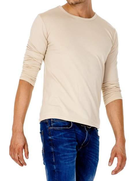 Beżowa gładka koszulka męska longsleeve                                  zdj.                                  4