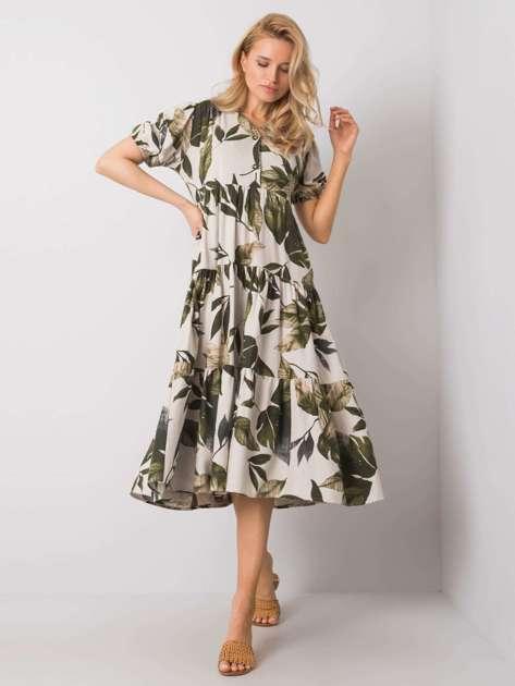 Beżowa-khaki sukienka z falbaną Dafina RUE PARIS