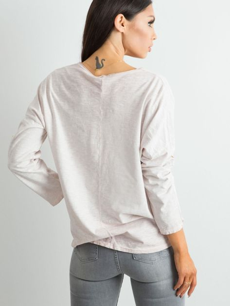 Beżowa luźna bluzka damska                              zdj.                              2