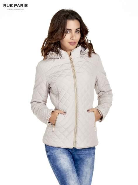 Beżowa pikowana kurtka z kapturem w stylu husky                                  zdj.                                  1