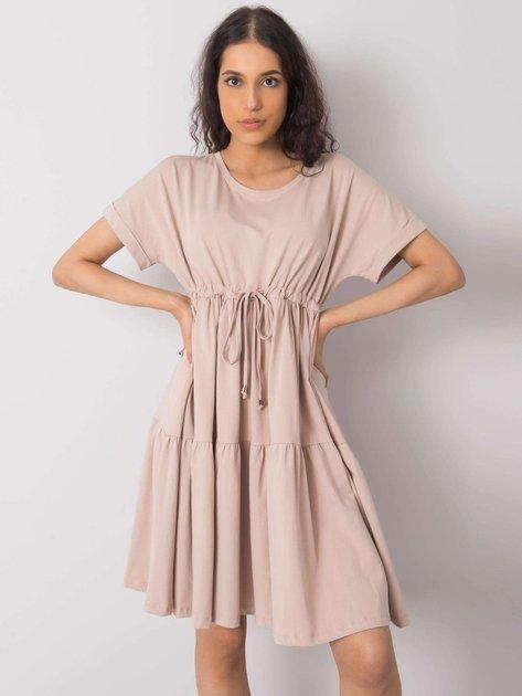 Beżowa sukienka na co dzień Sebille RUE PARIS