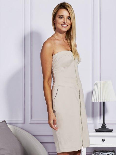 Beżowa sukienka z suwakiem                                  zdj.                                  3