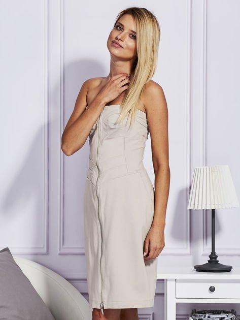 Beżowa sukienka z suwakiem                                  zdj.                                  5