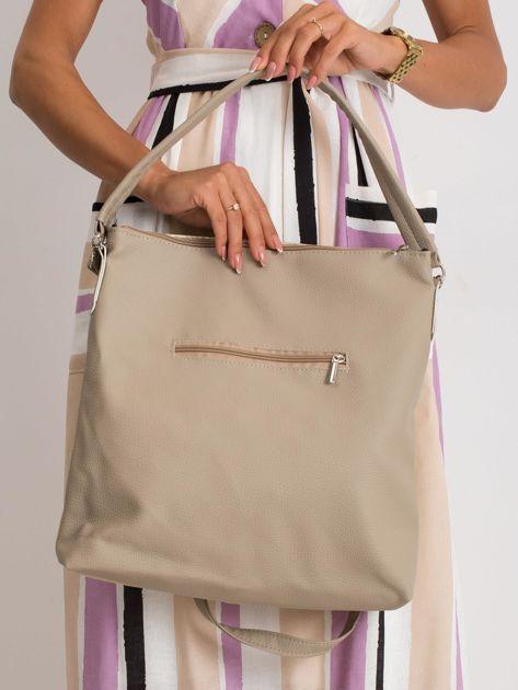 Beżowa torba damska z ekoskóry                              zdj.                              2