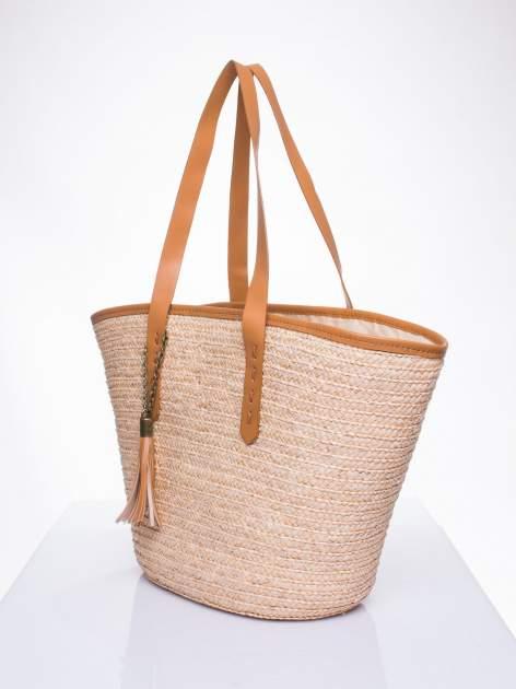 Beżowa torba koszyk plażowy ze skórzanymi rączkami                                  zdj.                                  3