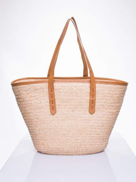 Beżowa torba koszyk plażowy ze skórzanymi rączkami                                  zdj.                                  4