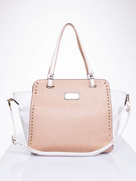 Beżowa torba shopper bag z ozdobnymi ćwiekami                                  zdj.                                  1