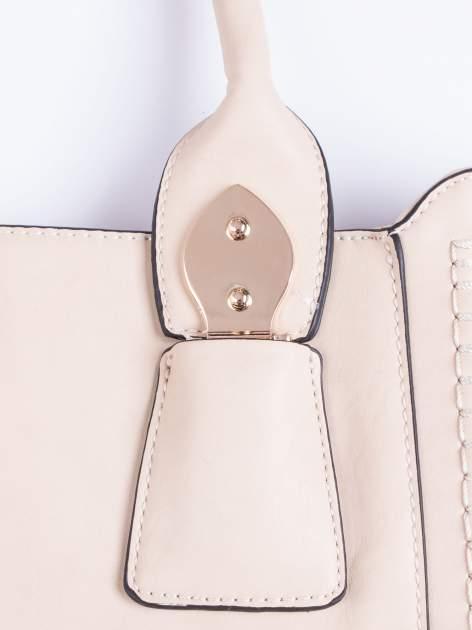 Beżowa torba shopper ze stębnowaniem                                  zdj.                                  5