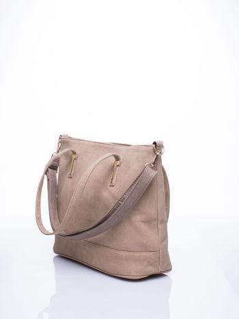 Beżowa torba shopperka z odczepianym paskiem                                   zdj.                                  2