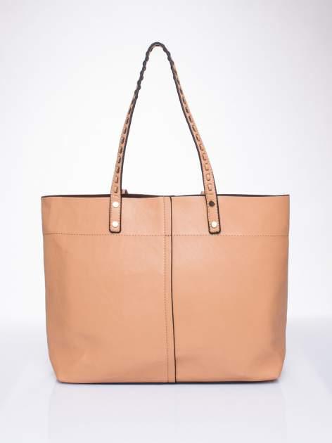 Beżowa torba z przeplatanym paskiem                                  zdj.                                  2