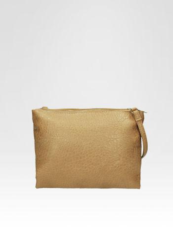 Beżowa torebka dwukomorowa z paskiem