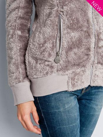 Beżowa włochata bluza z kapturem i suwakami                                  zdj.                                  4