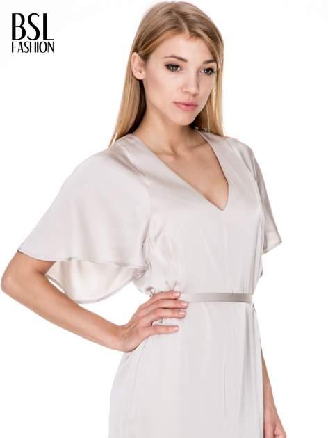 Beżowa zwiewna sukienka maxi z satyny                                  zdj.                                  5