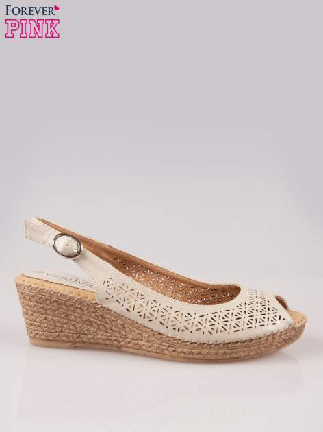 Beżowe ażurowe sandały peep toe na korkowym koturnie Lovina                                  zdj.                                  1
