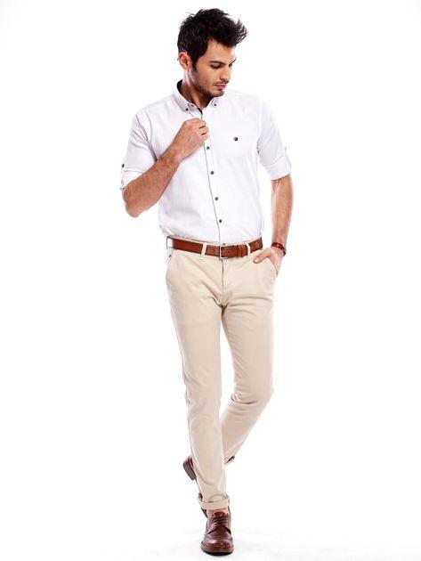 Beżowe bawełniane spodnie męskie chinosy                               zdj.                              11