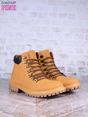 Beżowe buty trekkingowe Dalia damskie traperki ocieplane z dwukolorowymi sznurówkami