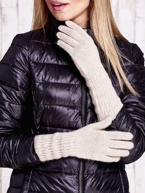 Beżowe długie rękawiczki z drapowanym rękawem                                  zdj.                                  1