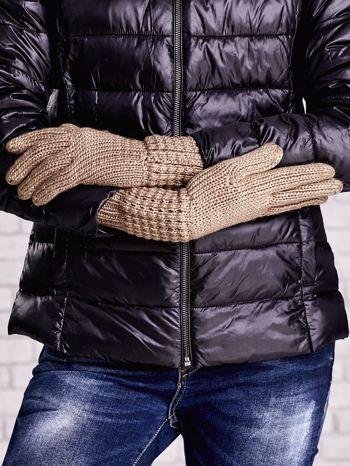 Beżowe długie rękawiczki z fantazyjnym ściągaczem                                  zdj.                                  2
