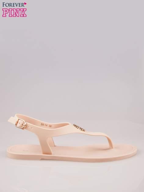 Beżowe gumowe sandały japonki z biżuteryjnym dodatkiem                                  zdj.                                  1