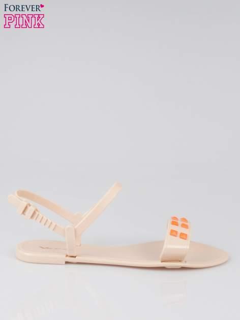 Beżowe gumowe sandały meliski Julissa z dżetami                                  zdj.                                  1