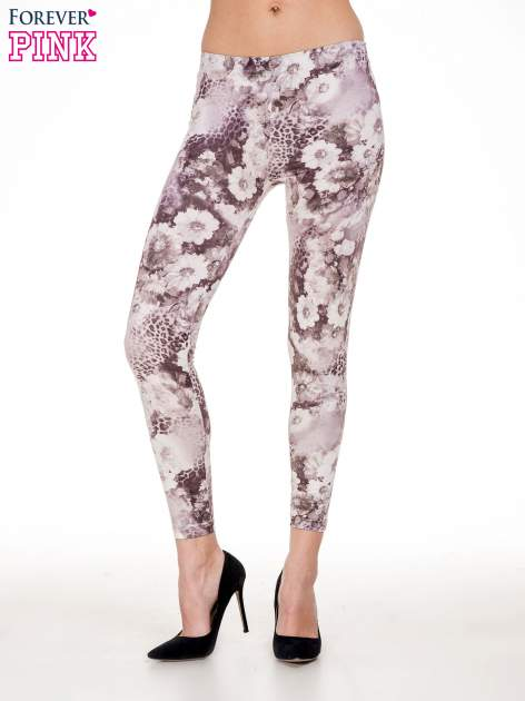 Beżowe legginsy w kwiaty