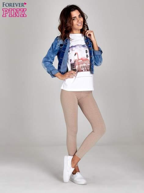 Beżowe melanżowe legginsy damskie basic                                  zdj.                                  8
