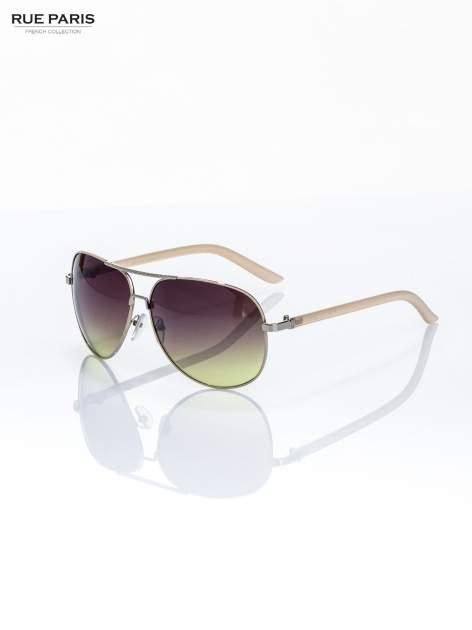 Beżowe pilotki -okulary przeciwsłoneczne typu AVIATOR, solidnie wykonane FILTRY UV,NORMY CE                                  zdj.                                  1