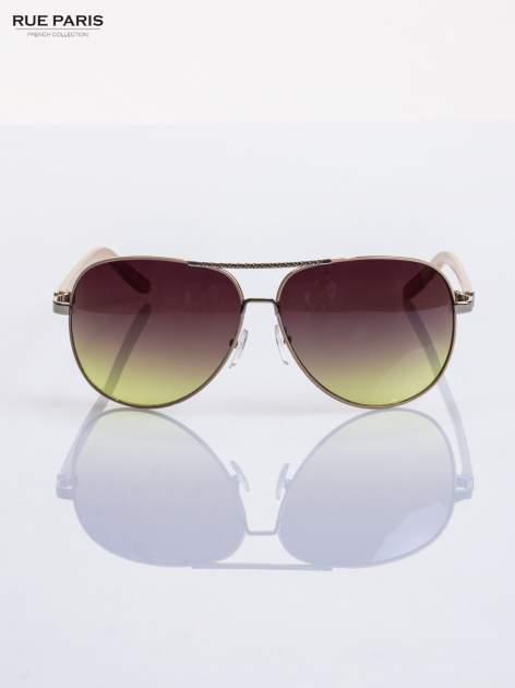 Beżowe pilotki -okulary przeciwsłoneczne typu AVIATOR, solidnie wykonane FILTRY UV,NORMY CE                                  zdj.                                  3
