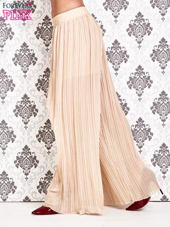 Beżowe plisowane spodnie palazzo                                   zdj.                                  2