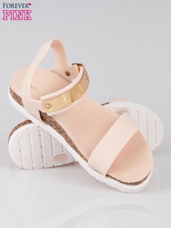 Beżowe sandały damskie z blaszką                                  zdj.                                  4
