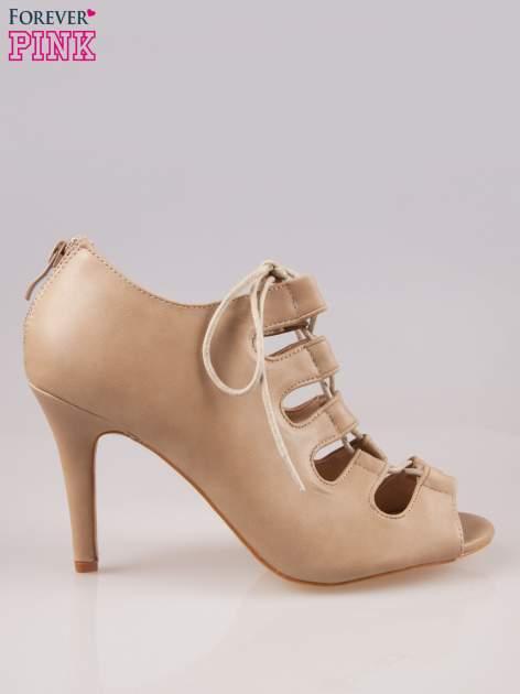 Beżowe wiązane sandały typu gladiatorki