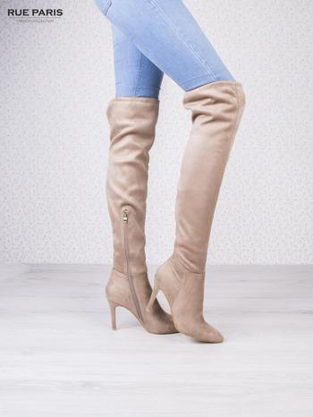 Beżowe zamszowe kozaki faux suede na szpilkach wiązane w kolanach                                  zdj.                                  3