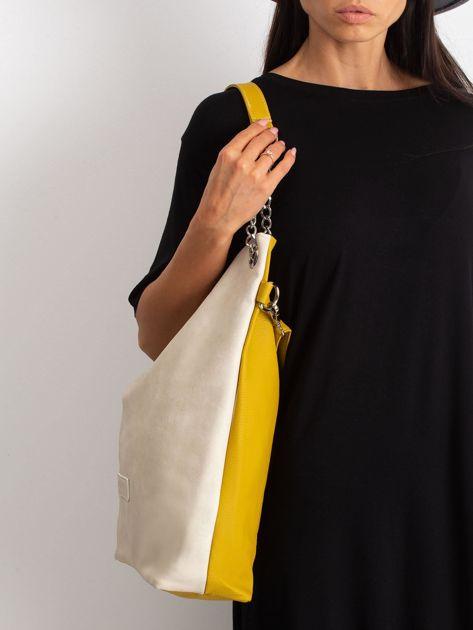 Beżowo-oliwkowa torba z ekoskóry                              zdj.                              5