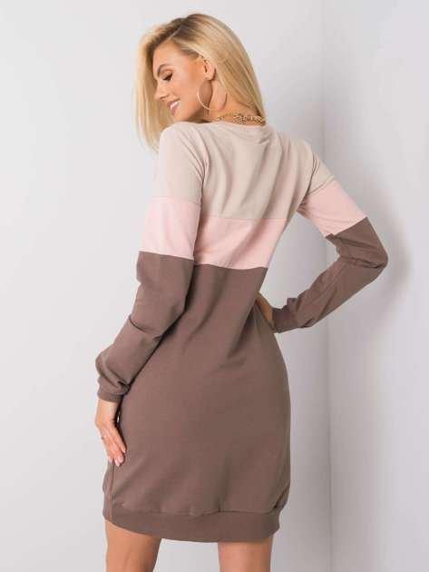 Beżowo-różowa sukienka Feliciana RUE PARIS