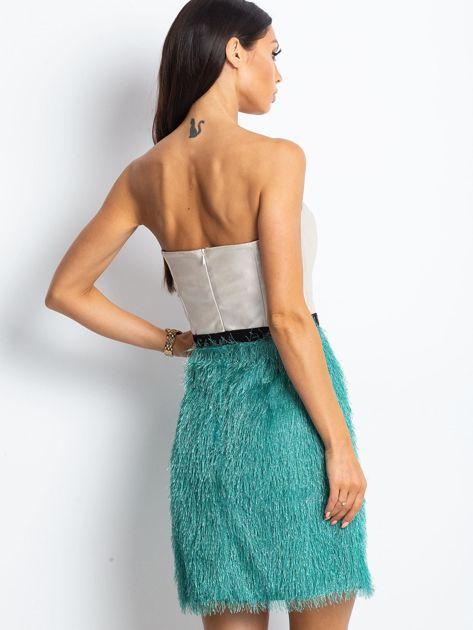 Beżowo-zielona sukienka z frędzelkami                               zdj.                              2